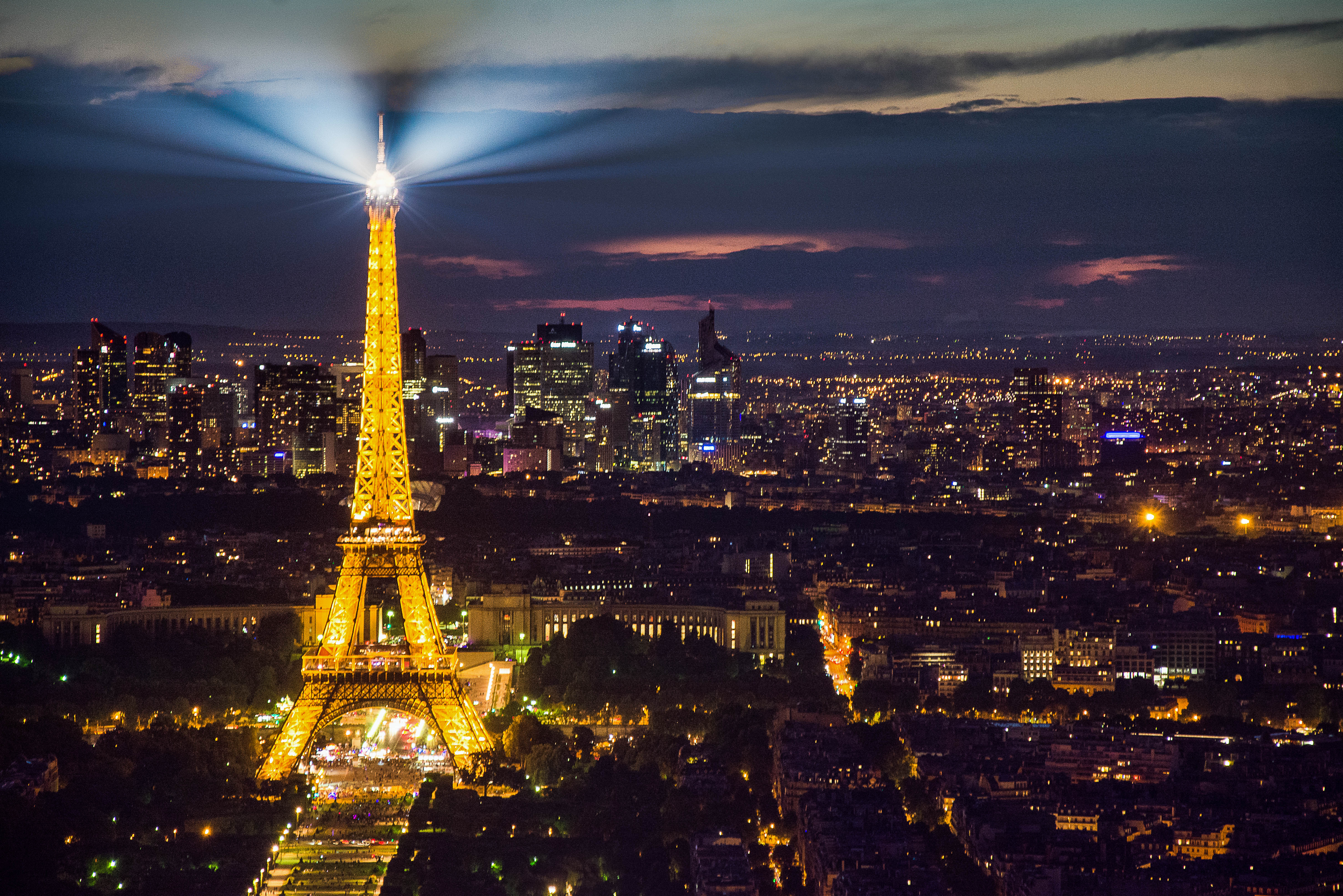 Light trails of Eiffel Tower from montparnasse tower