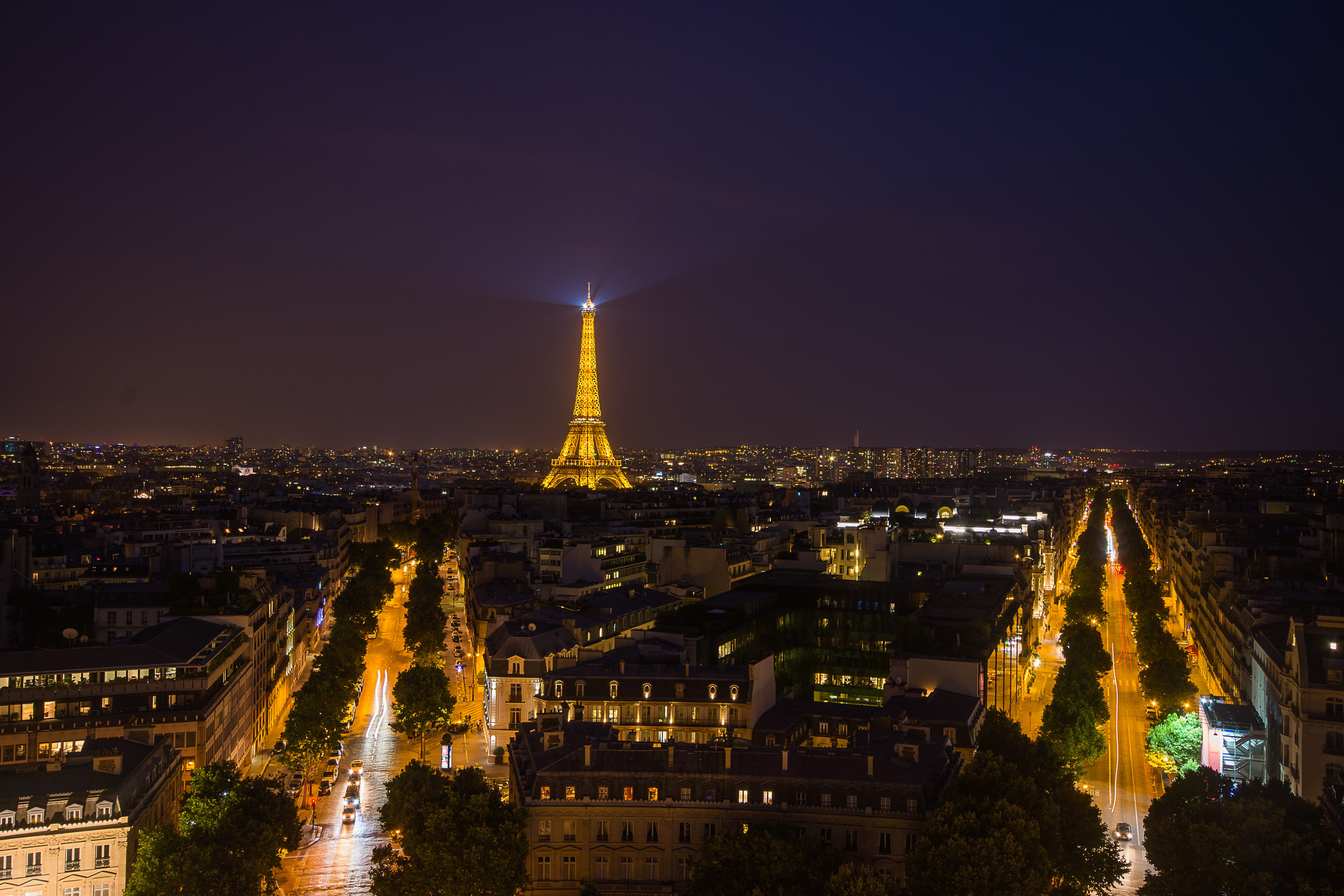 Champ Elysees with glittering Eiffel Tower - Travel Anubhav