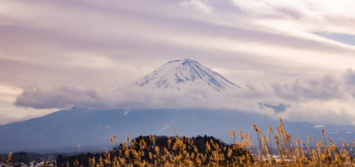 Color contrast image of Mt. Fuji from Kawaguchiko by Travel Anubhav.