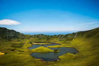Caldeirao lake at Corvo Island, Azores