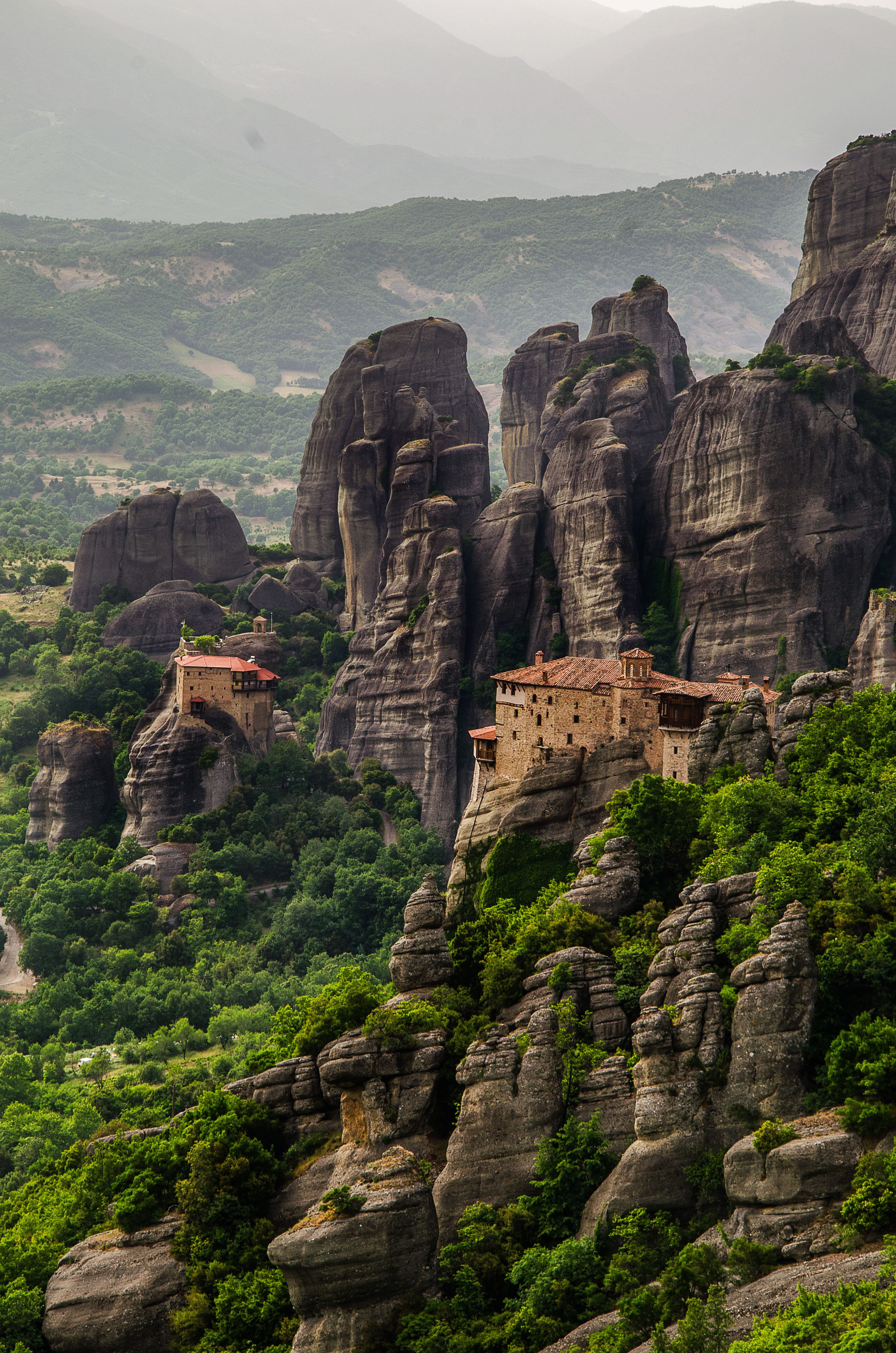 Cropped frame of two monasteries meteora by Travel Anubhav