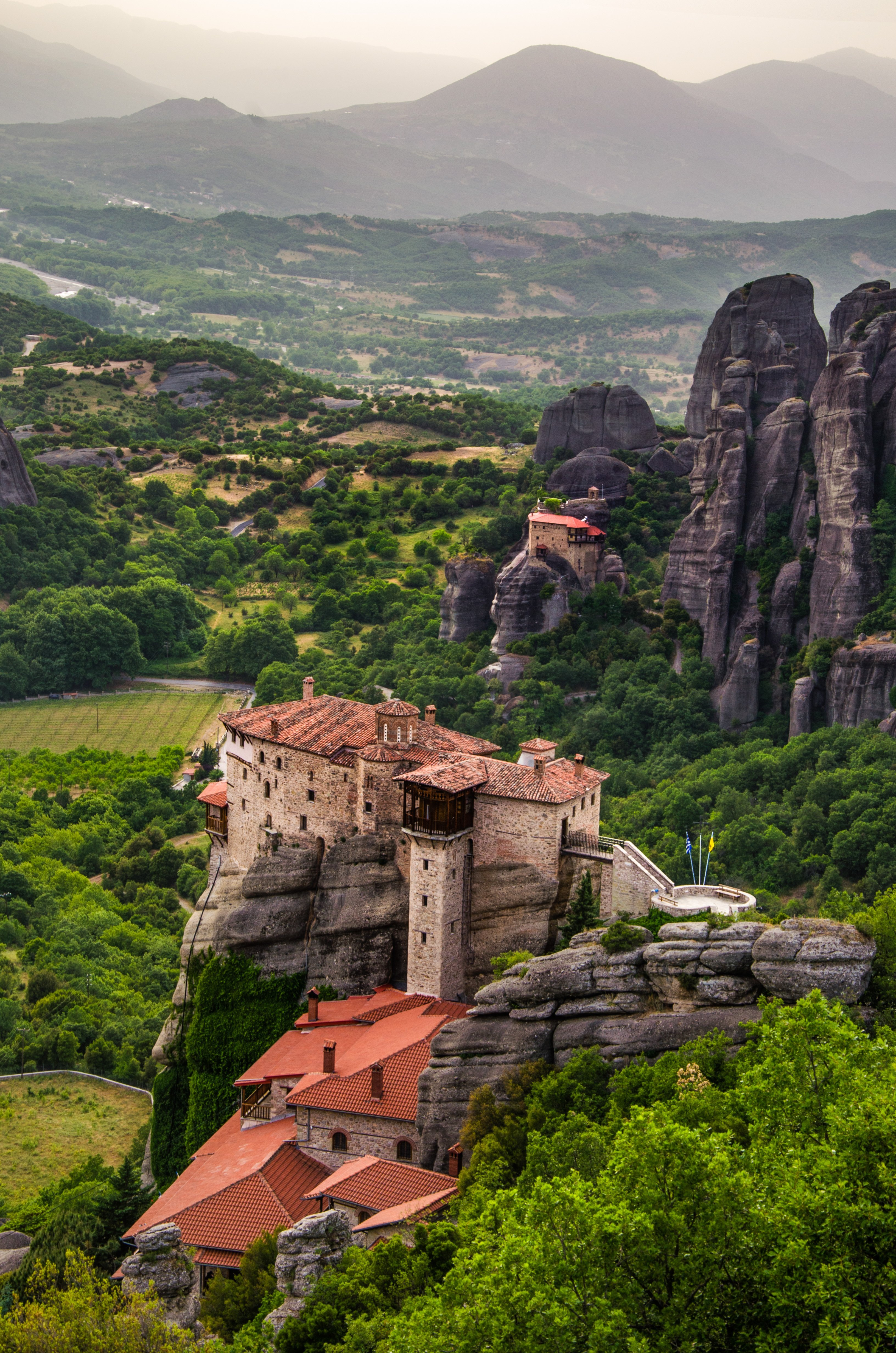 Roussanou and St. Nicholas Monastery from best sunset spot in Meteora