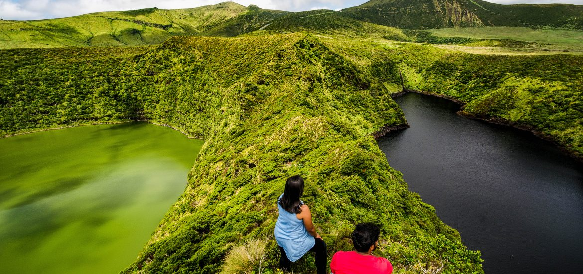 Travel Anubhav styled travel picture of Flores island with two lakes.