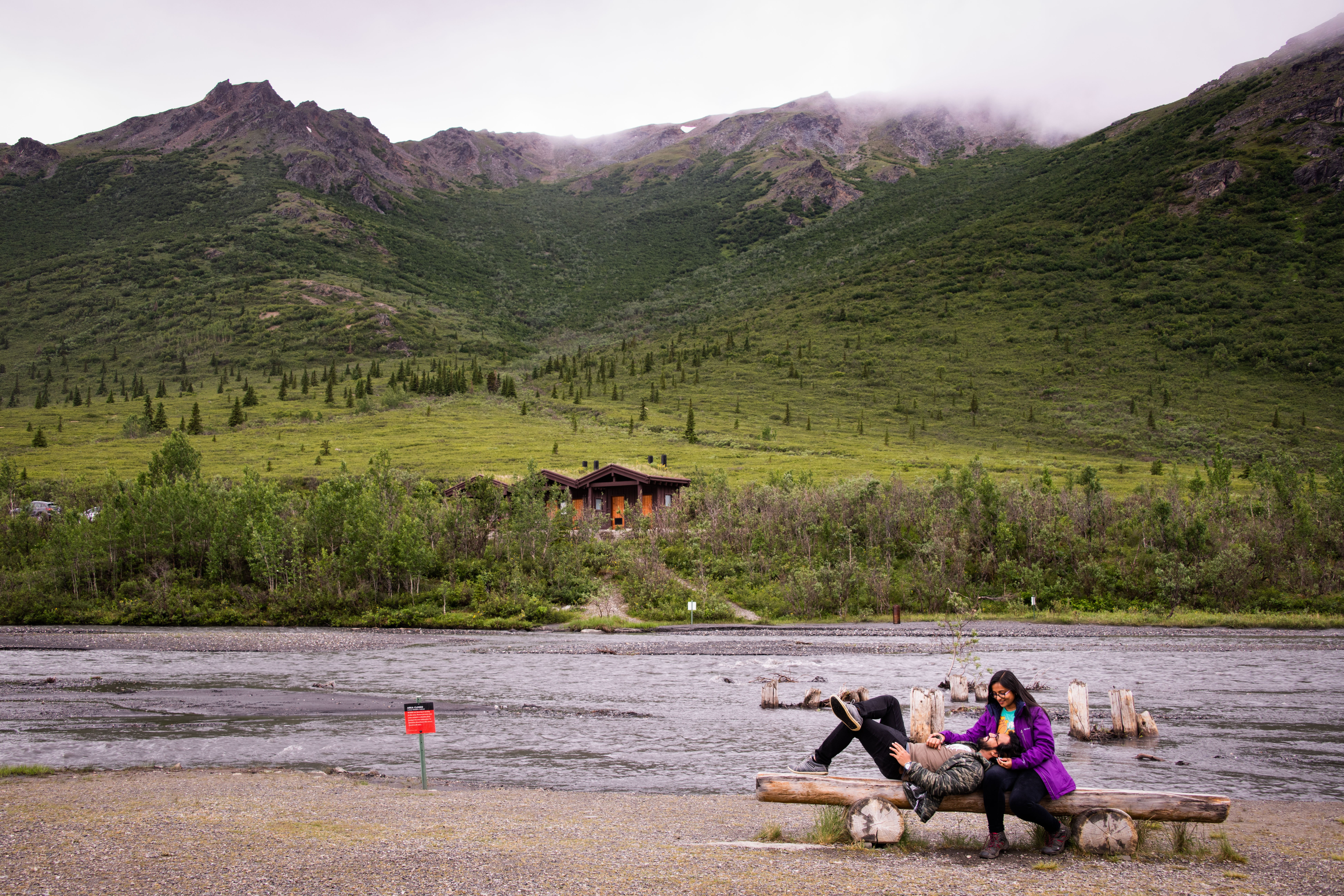 Couple photography at 15 mile stop in Denali National Park
